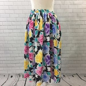 Vintage Floral and Dot Full Midi Skirt